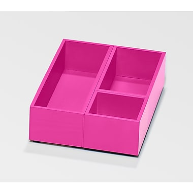 Bindertek Bright Wood Desk Organizing System, Accessory Tray & Cup Set, Pink (BTSBOX-PK)