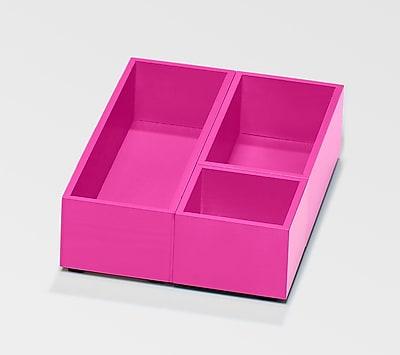 Bindertek Bright Wood Desk Organizing System Storage Box Set; Pink (BTSBOX-PK)
