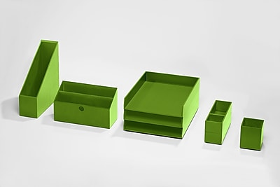 Bindertek Bright Wood Desk Organizing System Desktop Deluxe Set, Green (BTSET4-GR)