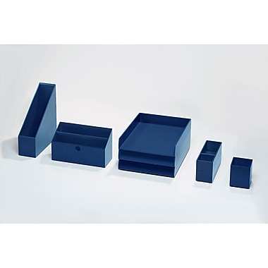Bindertek Bright Wood Desk Organizing System, Desktop Deluxe Set, Navy (BTSET4-NV)
