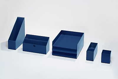 Bindertek Bright Wood Desk Organizing System Desktop Deluxe Set, Navy (BTSET4-NV)