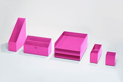 Bindertek Bright Wood Desk Organizing System Desktop Deluxe Set, Pink (BTSET4-PK)