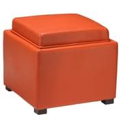 Cortesi Home Mavi Tray Top Storage Ottoman; Orange