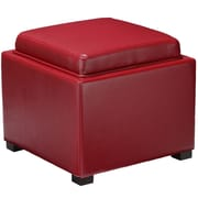 Cortesi Home Mavi Tray Top Storage Ottoman; Red