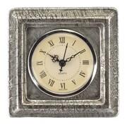 Prinz Burton Resin Clock w/ Croco Pattern; Antique Silver
