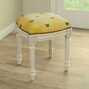 123 Creations Butterfly Upholstered Vanity Stool; Yellow