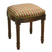 123 Creations Red and Green Plaid Upholstered Vanity Stool