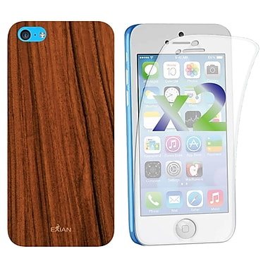 Exian Case for iPhone 5c & Screen Protectors x2 Pieces, Wood Grain Pattern