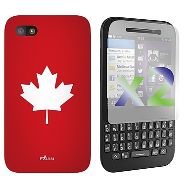 Exian Case for BlackBerry Q5, Maple Leaf, Red