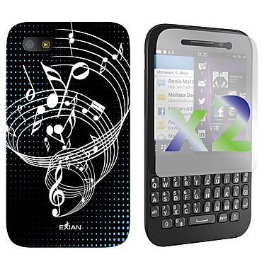 Exian Case for BlackBerry Q5 ,Musical Notes, Black