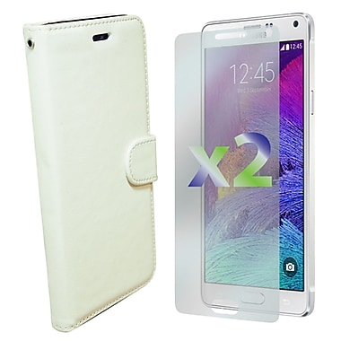 Exian Case for Galaxy Note 4 & Screen Protectors x2 Leather Wallet, White