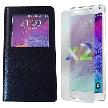 Exian Case for Galaxy Note 4 & Screen Protectors x2 Leather Wallet Call Access, Black