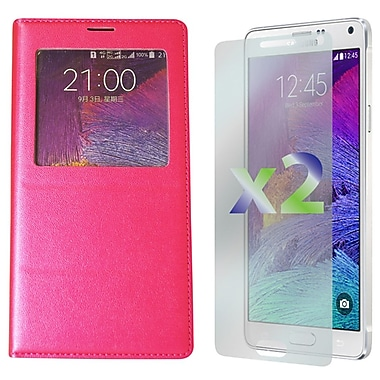 Exian Case for Galaxy Note 4 & Screen Protectors x2 Leather Wallet Call Access, Hot Pink
