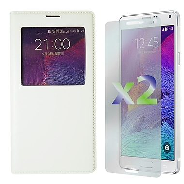 Exian Case for Galaxy Note 4 & Screen Protectors x2 Leather Wallet Call Access, White