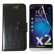 Exian – Étui portefeuille texturé pour Z30 et protecteurs d'écran x2, noir