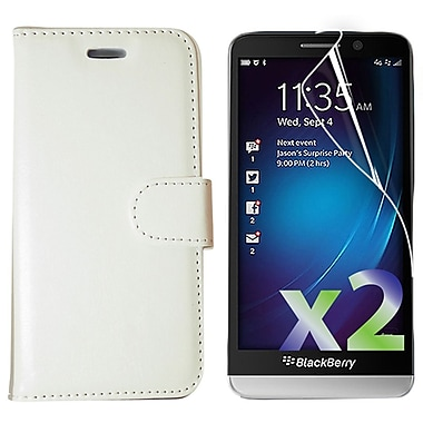 Exian Case for Z30 & Screen Protectors x2 Wallet, White