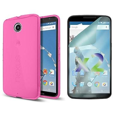 Exian – Étui portefeuille pour Nexus 6 avec protecteurs d'écran transparents x2, rose vif