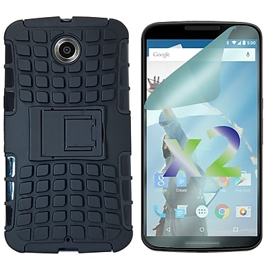 Exian Case for Nexus 6 & Screen Protectors x2 Armored With Stand, Black
