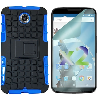 Exian Case for Nexus 6 & Screen Protectors x2 Armored With Stand, Blue