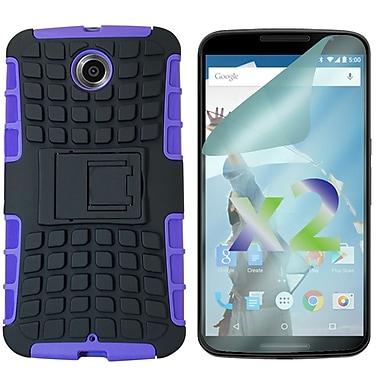 Exian Case for Nexus 6 & Screen Protectors x2 Armored With Stand, Purple