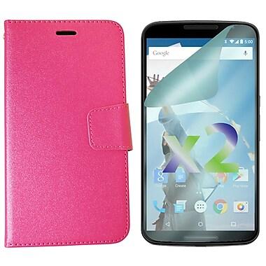 Exian – Étui portefeuille texturé pour Nexus 6 avec protecteurs d'écran x2, rose vif