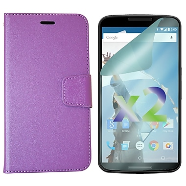 Exian Case for Nexus 6 & Screen Protectors x2 Textured Wallet, Purple