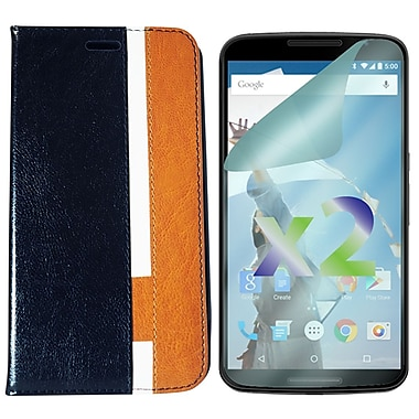 Exian Case for Nexus 6 & Screen Protectors x2 Tri Coloured Wallet, Black