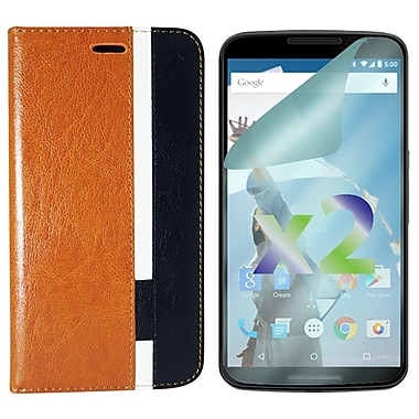 Exian Case for Nexus 6 & Screen Protectors x2 Tri Coloured Wallet, Brown