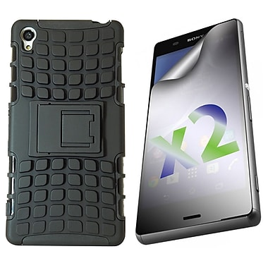 Exian Case for Xperia Z3 & Screen Protectors x2 Armored With Stand, Black