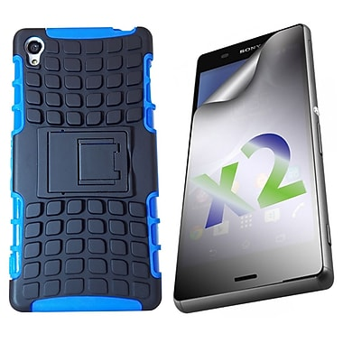 Exian Case for Xperia Z3 & Screen Protectors x2 Armored With Stand, Blue