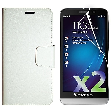 Exian Case for Z30 & Screen Protectors x2 Textured Wallet, White