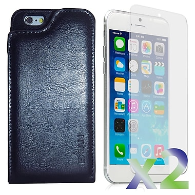 Exian Case for iPhone 6 & Screen Protectors x2 Real Leather Wallet Case, Black