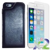 Exian – Étui portefeuille en vrai cuir pour iPhone 6 avec protecteurs d'écran x2, noir