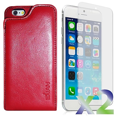 Exian Case for iPhone 6 & Screen Protectors x2 Real Leather Wallet Case, Red
