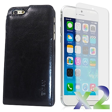 Exian Case for iPhone 6 Plus & Screen Protectors x2 Real Leather Wallet Case, Black