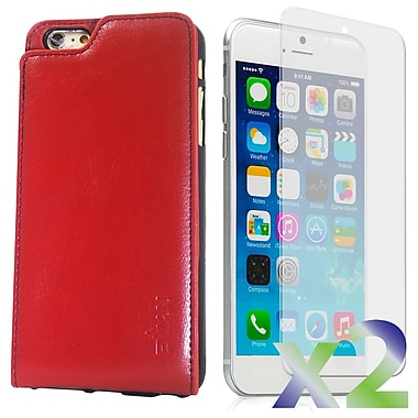 Exian Case for iPhone 6 Plus & Screen Protectors x2 Real Leather Wallet Case, Red