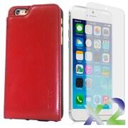 Exian – Étui portefeuille en vrai cuir pour iPhone 6 Plus avec protecteurs d'écran x2, rouge