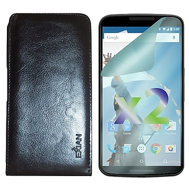 Exian Case for Nexus 6 & Screen Protectors x2 Real Leather Wallet, Black