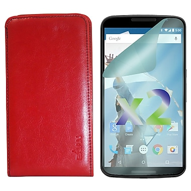 Exian Case for Nexus 6 & Screen Protectors x2 Real Leather Wallet, Red
