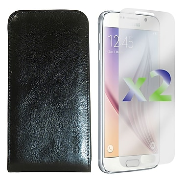 Exian Case for Galaxy S6 & Screen Protectors x2 Real Leather Wallet Case, Black