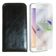 Exian – Étui portefeuille en vrai cuir pour Galaxy S6 avec protecteurs d'écran x2, noir
