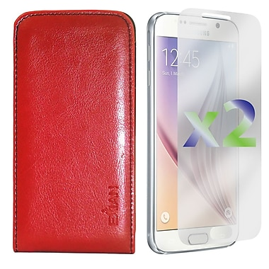 Exian Case for Galaxy S6 & Screen Protectors x2 Real Leather Wallet Case, Red