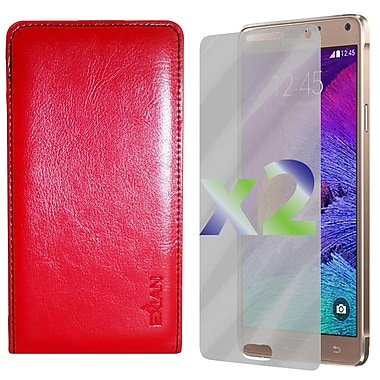 Exian Case for Galaxy Note 4 & Screen Protectors x2 Real Leather Wallet, Red