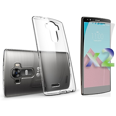 Exian Case for G4 & Screen Protectors x2 Slim Transparent, Clear