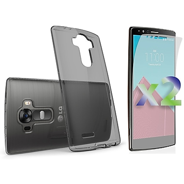 Exian Case for G4 & Screen Protectors x2 Slim Transparent, Grey
