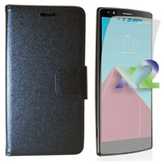 Exian Case for G4 & Screen Protectors x2 Leather Wallet, Black
