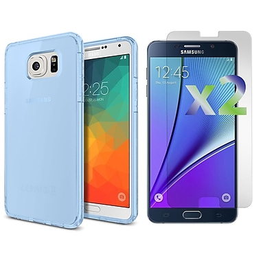 Exian – Étui mince pour Galaxy Note 5 avec protecteurs d'écran transparents x2, bleu