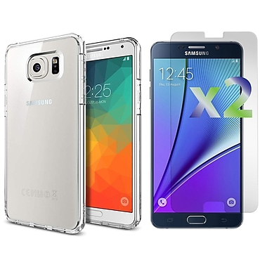 Exian Case for Galaxy Note 5 & Screen Protectors x2 Transparent Slim, Clear