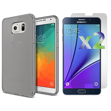 Exian – Étui mince pour Galaxy Note 5 avec protecteurs d'écran transparents x2, vert