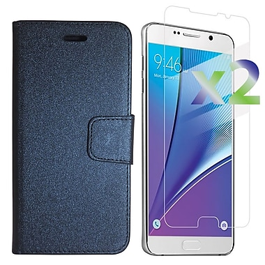 Exian Case for Galaxy Note 5 & Screen Protectors x2 Textured Wallet, Black